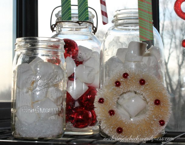 Christmas window {mason jars} onekriegerchick.wordpress.com