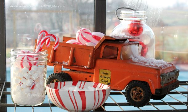 Christmas window {truck} at onekriegerchick.wordpress.com