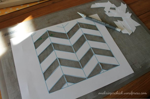 Chevron stencil at {onekriegerchick.wordpress.com}