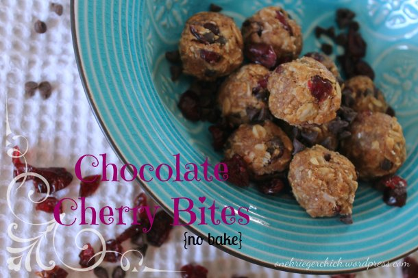 healthy {no bake} chocolate cherry bites at onekriegerchick.wordpress.com