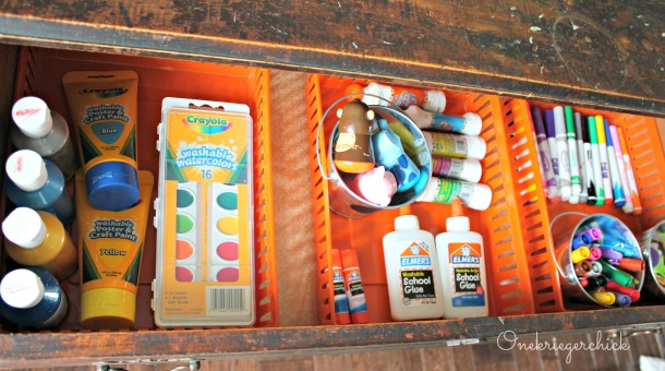 Art buffet drawer {Onekriegerchick.com}