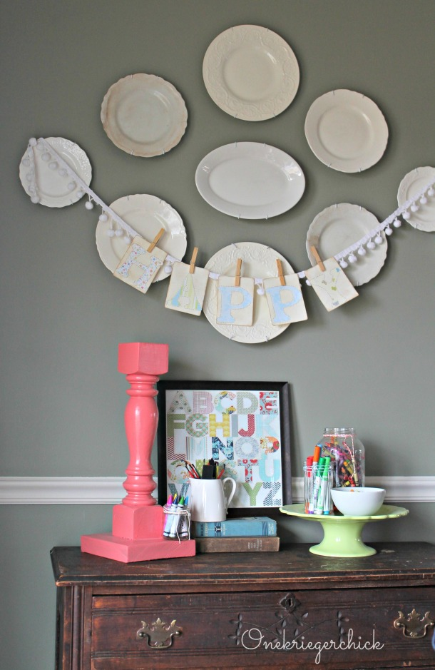 Dining Art buffet wall {Onekriegerchick.com}