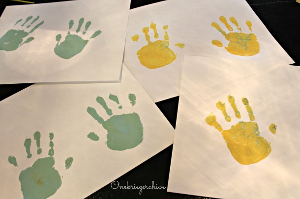 painted handprints {Onekriegerchick.com}