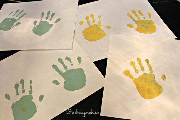 painted handprints {Onekriegerchick.com}