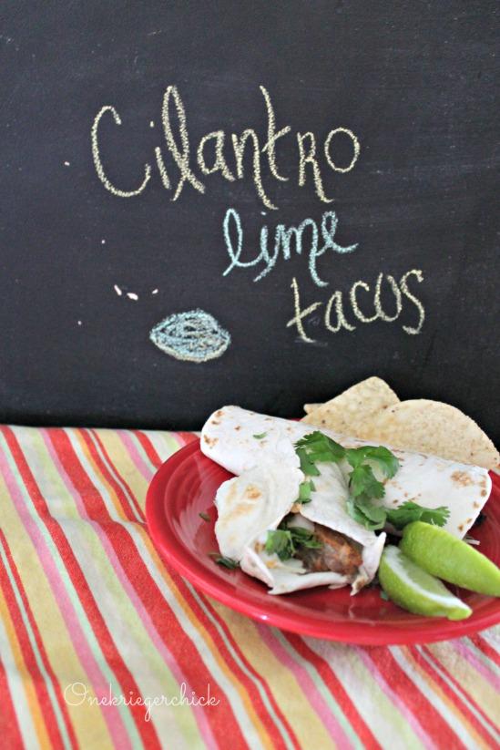 Our Family's Favorite Easy Cilantro Lime Chicken Tacos {Onekriegerchick.com}