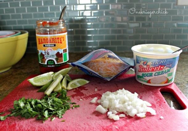Prepped ingredients for Cilantro Lime Tacos {Onekriegerchick.com}