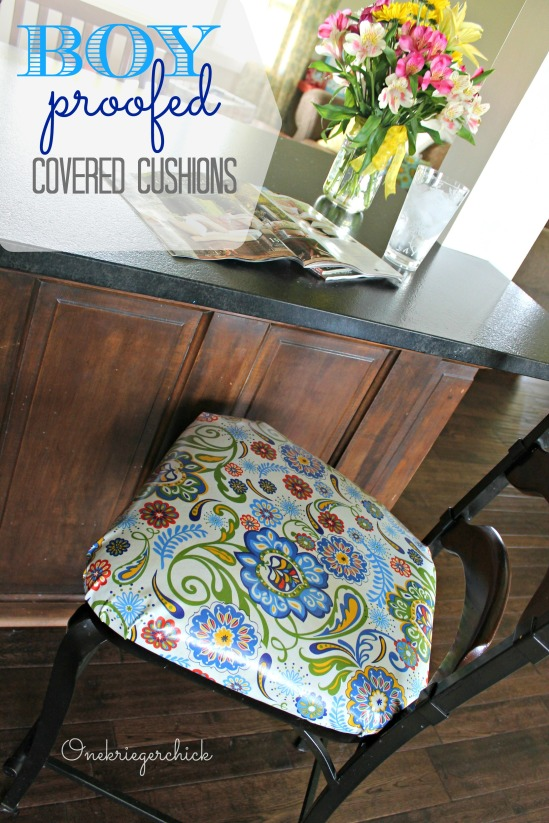 BOY proof Laminated seat cushions {Onekriegerchick.com}