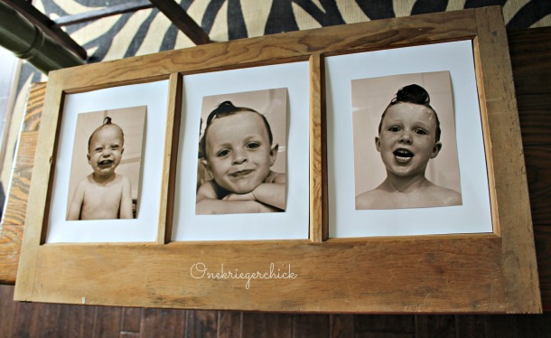 brothers framed art in old window {Onekriegerchick.com}