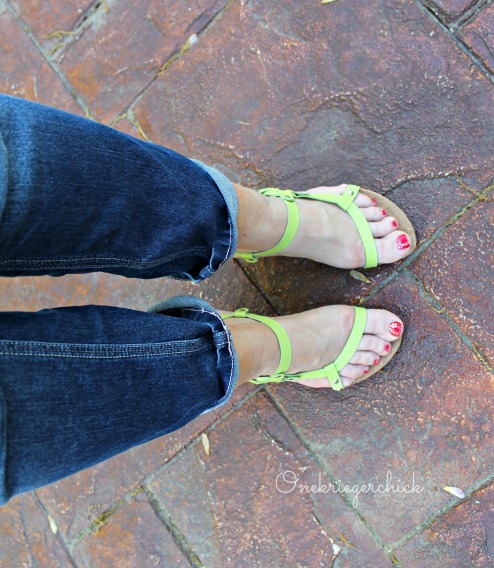 Lime wedge heels with denim {Onekriegerchick.com}