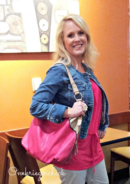 Melon and Gray with ElleElyse handbag {Onekriegerchick.com}