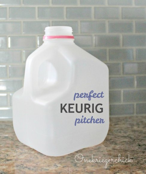 milk jug as Keurig pitcher! Why didn't I think of that! {Onekriegerchick.com}