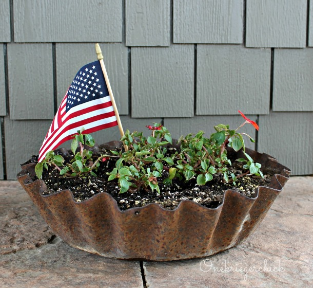old tin pan as planter {Onekriegerchick.com}