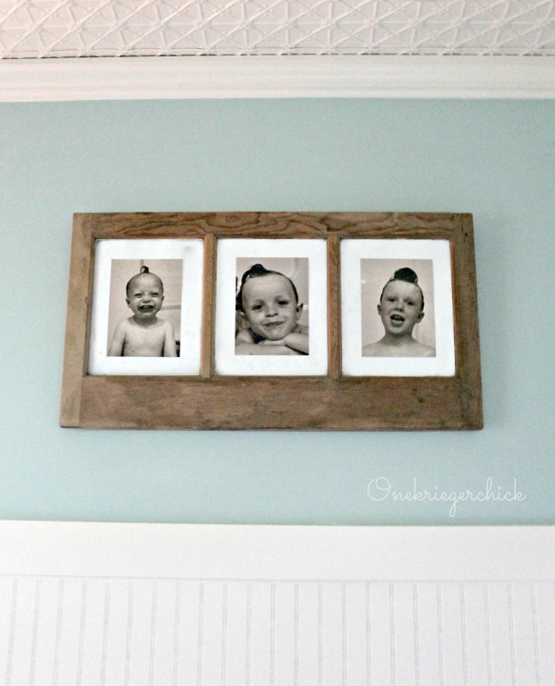 perfect bathroom wall art~brothers photos in an old window {Onekriegerchick.com}