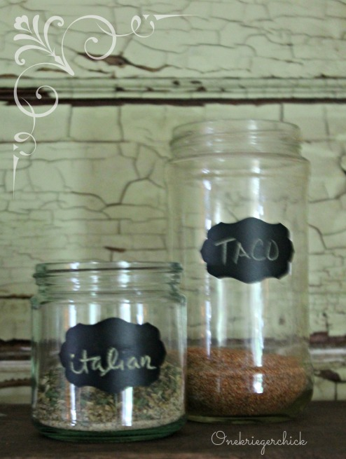 Repurpose jars for homemade seasonings, add chalkboard labels {Onekriegerchick.com}