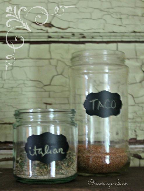Repurpose jars for homemade seasonings, add chalkboard labels {Onekriegerchick.com}