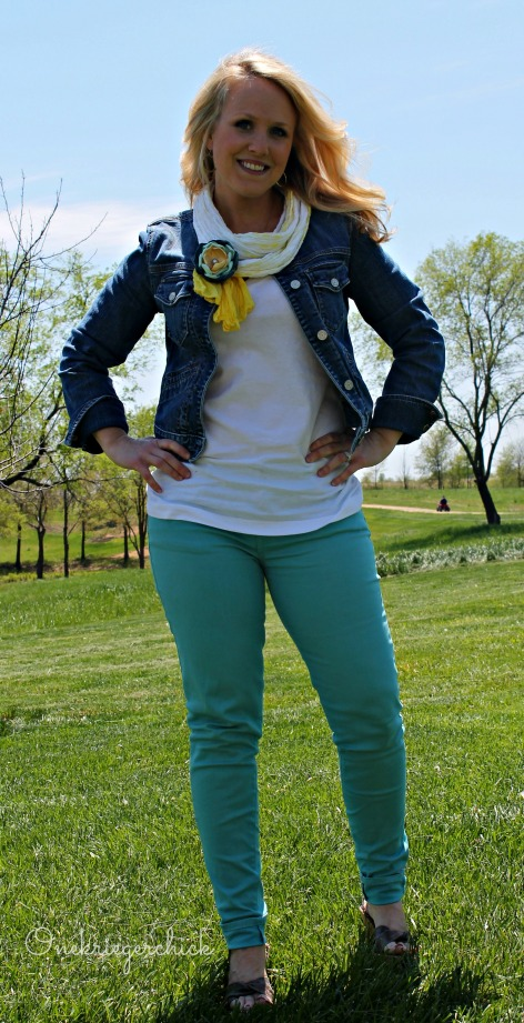 Turquoise skinnies, white T, jean jacket {WIWW at Onekriegerchick.com}