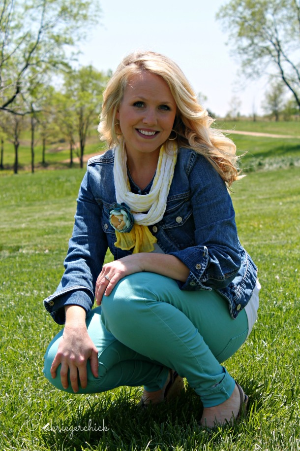 Turquoise, yellow and a jean jacket {Onekriegerchick.com}