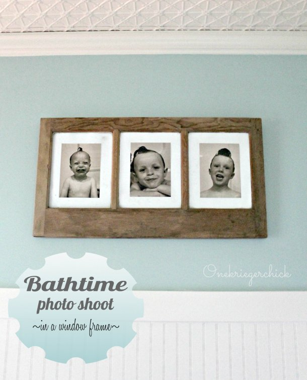 Bathtime Photo Shoot~perfect bathroom wall art in an old window! {Onekriegerchick