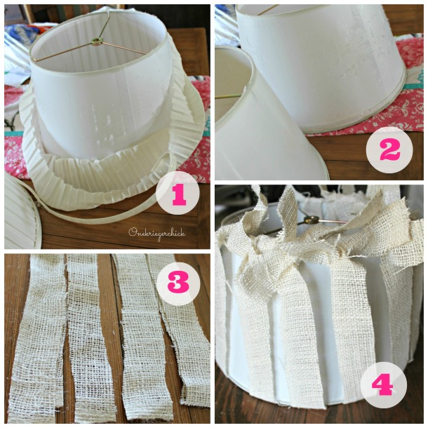 DIY Burlap lampshades in 4 easy steps! {Onekriegerchick.com}
