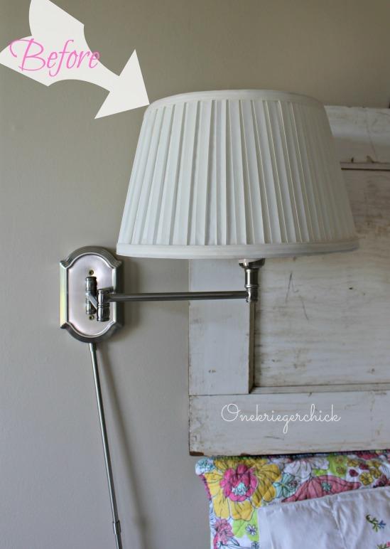 plain lampshade before makeover {Onekriegerchick.com}
